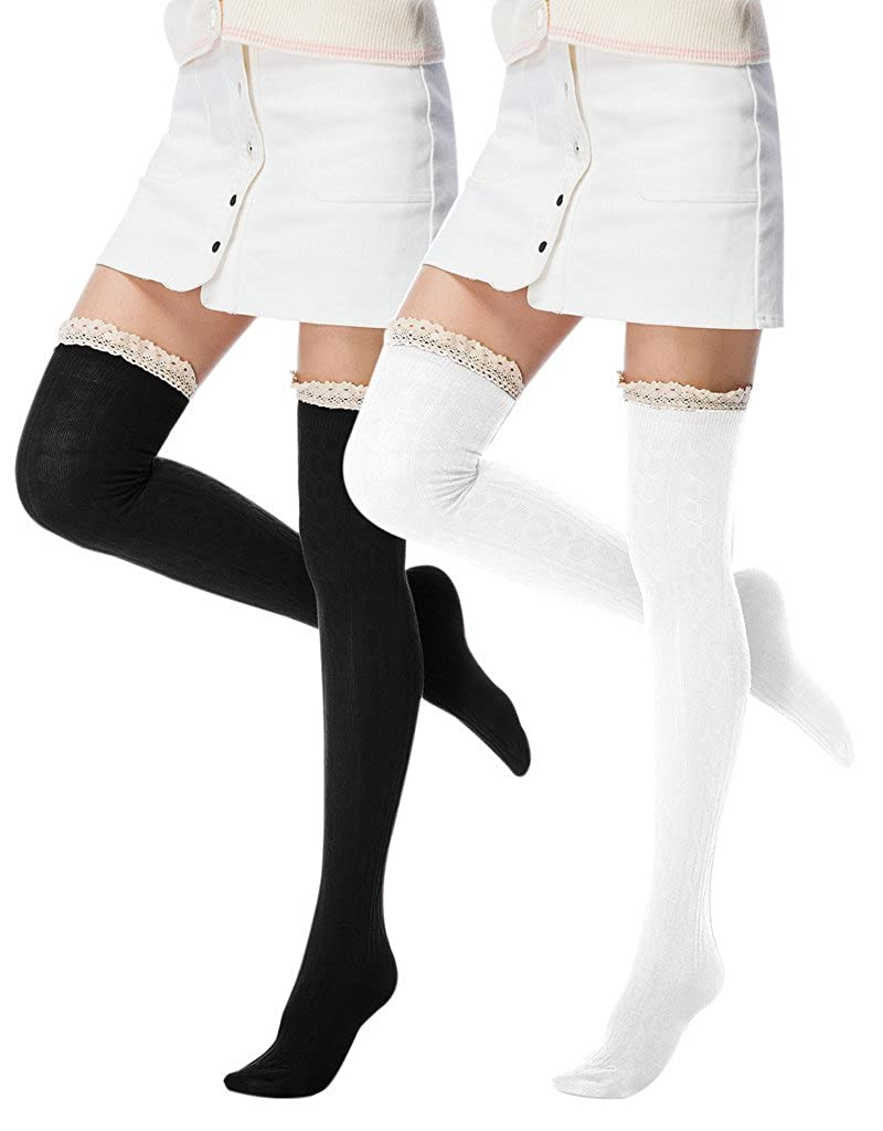 I wish Women's Girls Summer Lace Trim Over the Knee Thigh High Socks 201-lkmjhi-black-onesize