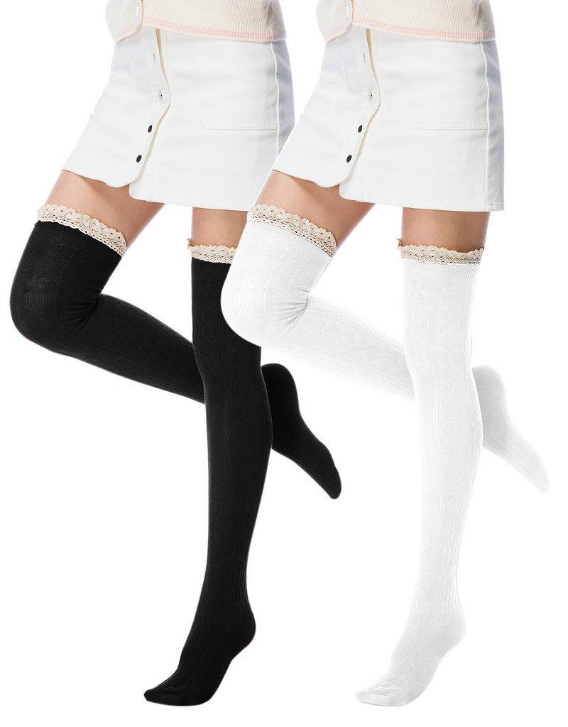 Fashion Extra Cotton Thigh High Socks light Color 01