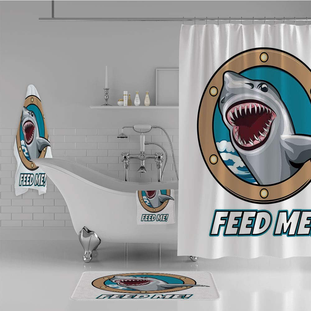 Bathroom 4 Piece Set Shower Curtain Floor mat Bath Towel 3D Print,Quote with Hungry Hound Shark Head in Ship Window,Fashion Personality Customization adds Color to Your Bathroom.