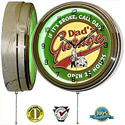 DADS GARAGE 15 NEON LIGHT WALL CLOCK MAN CAVE WORKSHOP TIN METAL SIGN GREEN