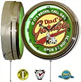 DADS GARAGE 15″ NEON LIGHT WALL CLOCK MAN CAVE WORKSHOP TIN METAL SIGN GREEN For Sale
