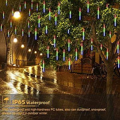 GPODER Lluvia De Meteoros 30CM, 8 Impermeable Espiral Tubos Luces Lluvia, 288 Leds Meteoros Lluvia Luces para Navidad Árbol Exterior Jardín Decoración Luces Leds(Multicolor): Amazon.es: Hogar