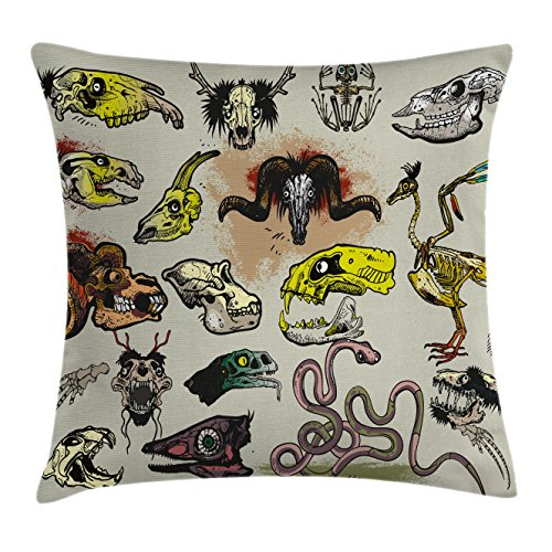 Gothic Face - Ambesonne Modern Throw Pillow Cushion Cover, Animal Skeleton Icons Composition with Gothic Faces Dead Creatures Illustration, Decorative Square Accent Pillow Case, 18 X 18 Inches, Multicolor