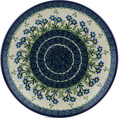 (Polish Pottery Salad Plate 9-inch Blue Daisy)