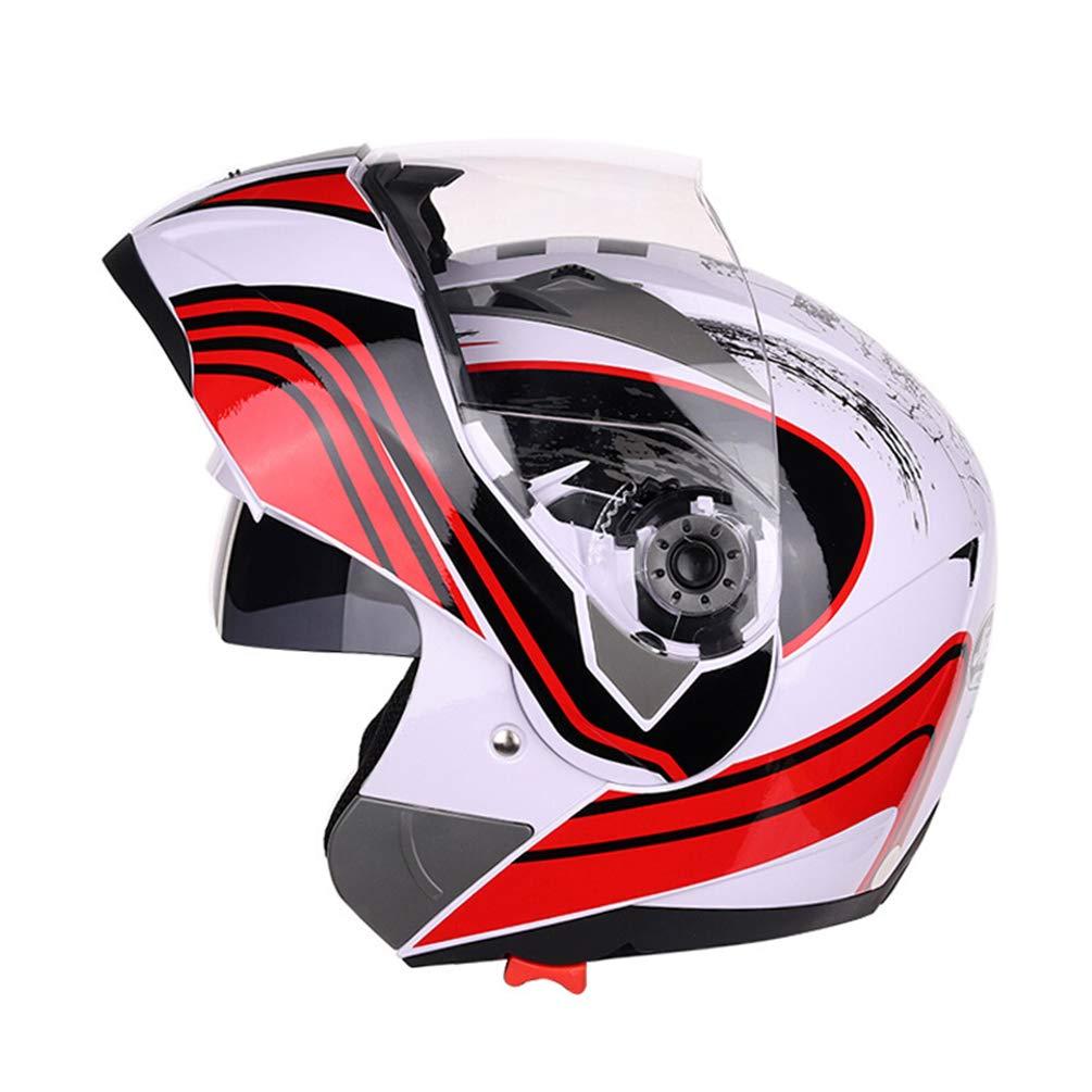 Qianliuk Casco de Motocicleta Moto Moto Casco Doble Lente Completo Anti-Niebla Casco Adulto Universal Motocross Ali-110612