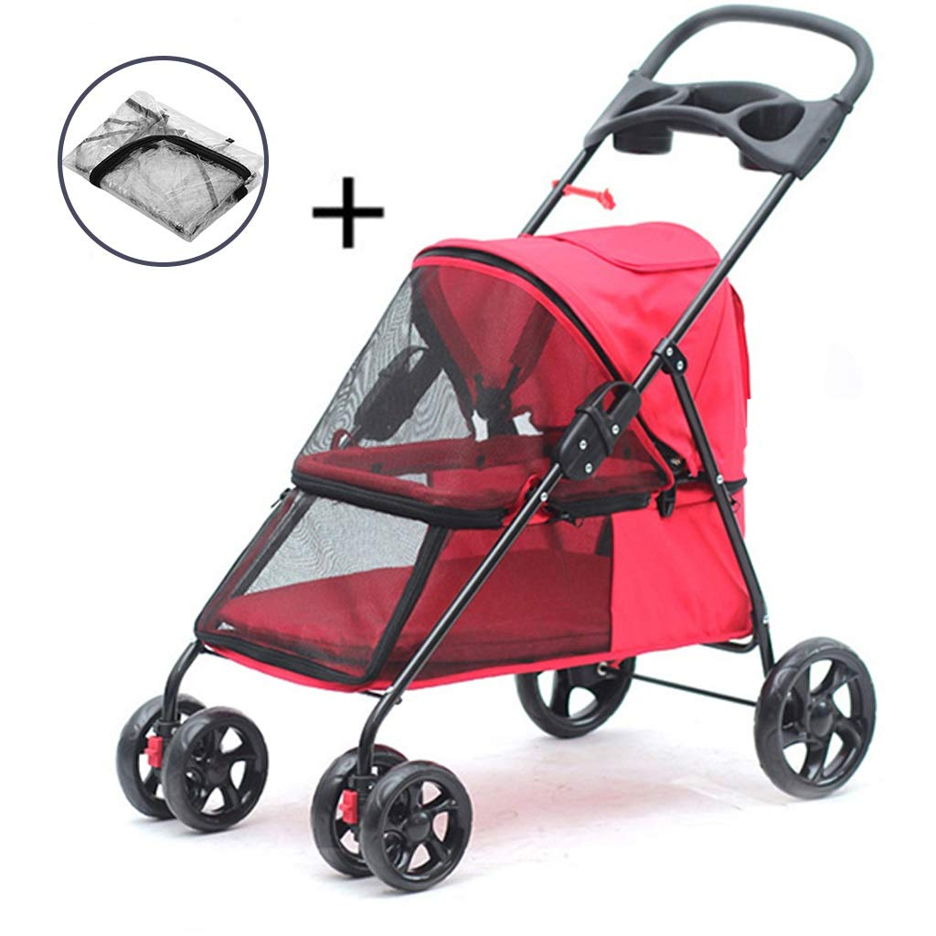 Folds Pet Trolley,with Storage Space and Cup Holder Three Colors are Available Onnear Light Weight Dog Stroller Pet cart for Medium Color : Brown Small Dogs Cats