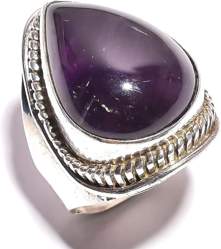 mughal gems & jewellery Anillo de Plata esterlina 925 Anillo de joyería Fina con Piedras Preciosas de Amatista Natural (Tamaño 7 U.S)