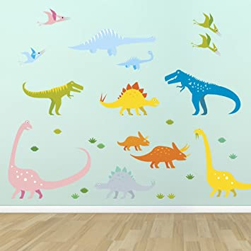 Supertogether Dinosaurs Childrens Bedroom Wall Stickers   Kids Playroom  Nursery Decals