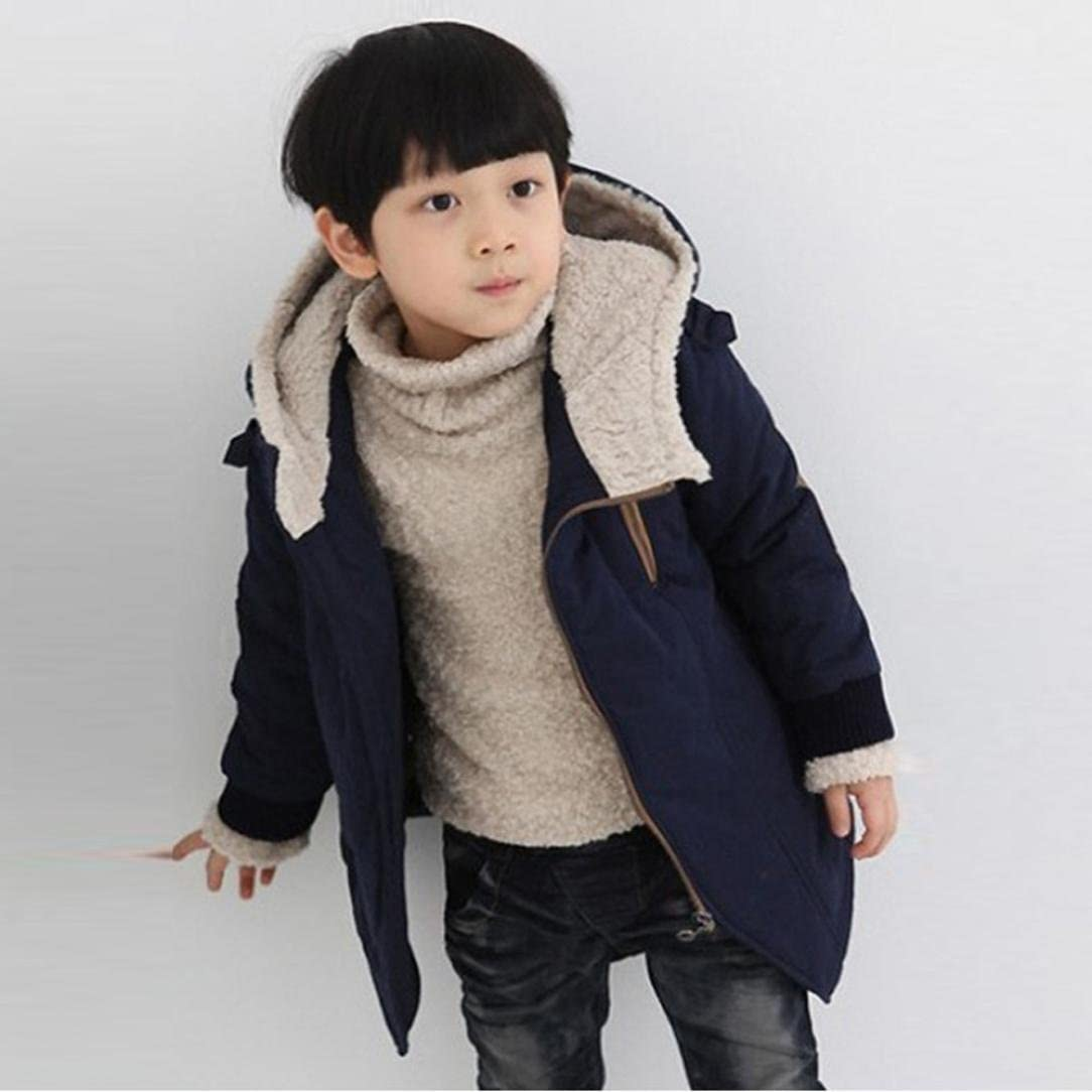 Kimanli Children Boys Hooded with Fur Outerwear Warm Winter Jacket Clothing