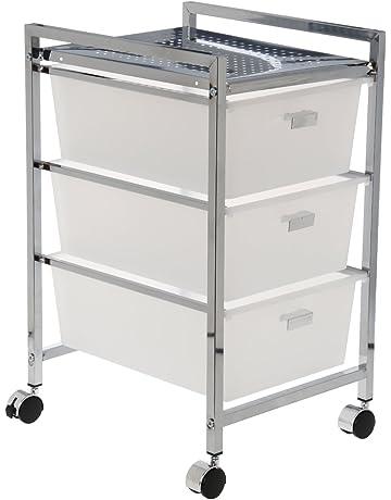 DonRegaloWeb - Carro baño de metal con 3 cajones acrilicos en color cromado y blanco