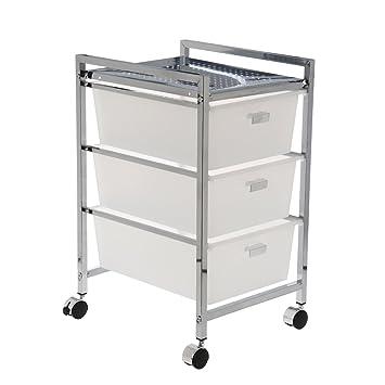 DonRegaloWeb - Carro baño de metal con 3 cajones acrilicos en color cromado y blanco: Amazon.es: Hogar