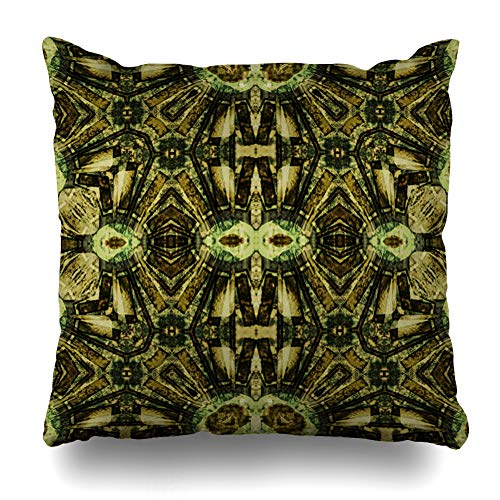 Ahawoso Throw Pillow Cover Graphic Watercolor Floral Nouveau Ornamental Vintage Pattern Geometric Scroll Green Abstract Batik Decorative Cushion Case Square 20
