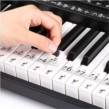 Pegatinas Para Piano Teclado, Pegatinas para Notas Musicale, Etiqueta Engomada de Tecla del Piano, Pegatina de Teclado Piano Extraíbles para ...
