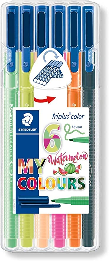 Staedtler Triplus Color 323 SB6CS7. Rotuladores de colores de punta fina multicolor. Estuche con 6 colores My Watermelon: Amazon.es: Oficina y papelería