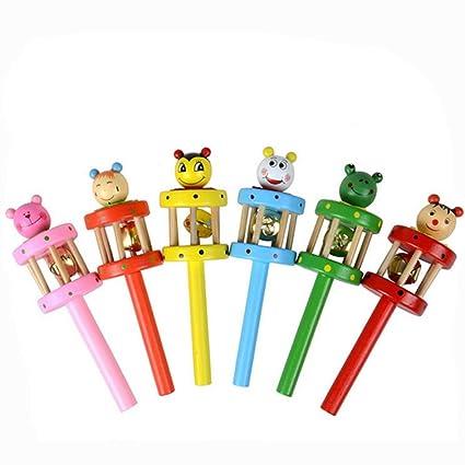 Funny Kids Toy Cartoon Animal Wooden Handbell Musical Developmental Instrument