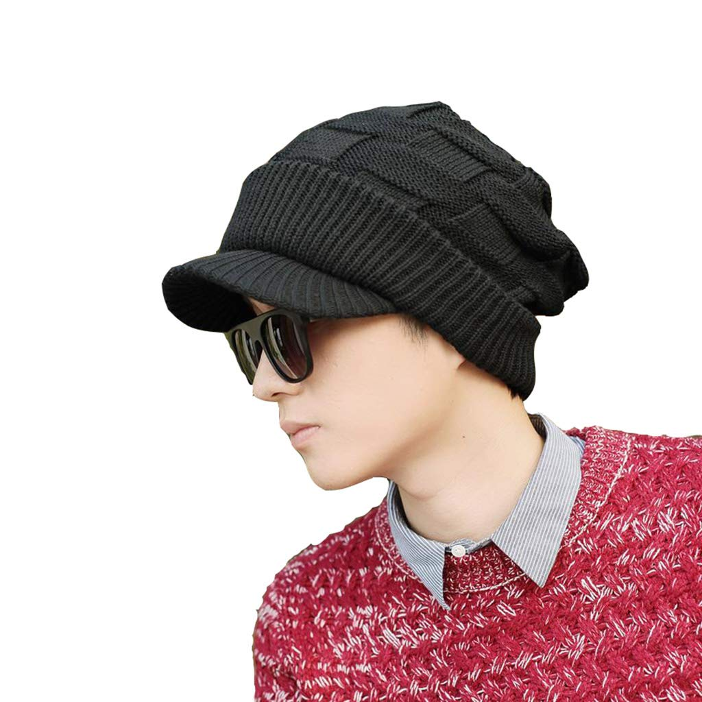 B Cap, Men Winter, Warm and Casual Ear Predectors Beanie Knitted Outdoor Hat (color   A)