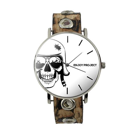 Reloj de pulsera para hombre Mujer Enjoy Project Calavera Militar con casco correa de piel tachuelas analógica cuarzo: Amazon.es: Relojes