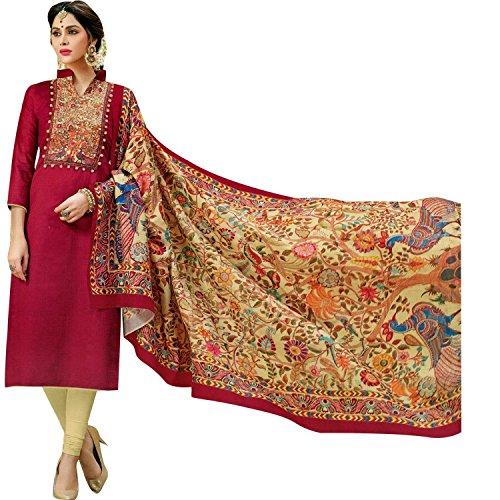 Ladyline Readymade Designer Salwar Kameez Cotton With Exclusive Ethnic Printed Cotton Dupatta Figure Prints - Exclusive Salwar