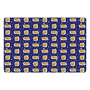 Ambesonne Cats Pet Mat for Food and Water, Sleeping Cats on Pillows in Starry Night Sky Sweet Dreams for Kids, Rectangle Non-Slip Rubber Mat for Dogs and Cats, Royal Blue Earth Yellow White