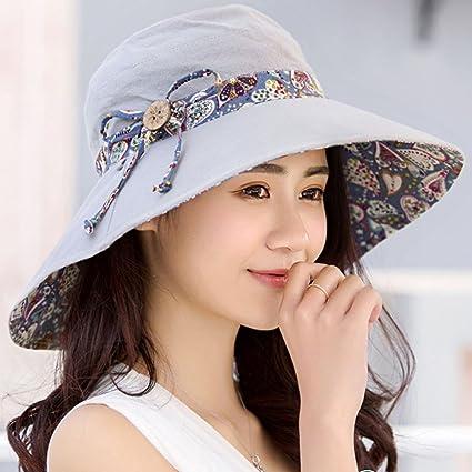 Sheng Sombreros de Sol para Mujer de Verano de Doble Cara con Sombrero UV  Playa Sombrero aa630f5af82