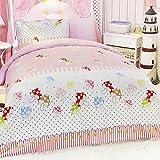 LELVA Pink Cartoon Mushroom Bedding Sets, Kids Bedding Girls, Cotton Polka Dot Children's Duvet Cover Set, Twin Full Queen Size (Twin)