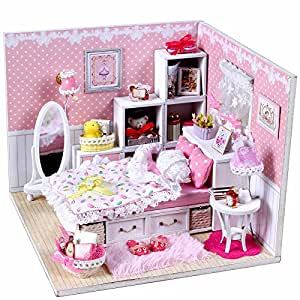 BEAUTY'S CASTLE DIY Angel Dreams Wooden Dollhouses With LED Light Crafts Furniture Kit Dust Cover 3D Puzzle Toy And Wooden Frame For Creative Birthday Gift