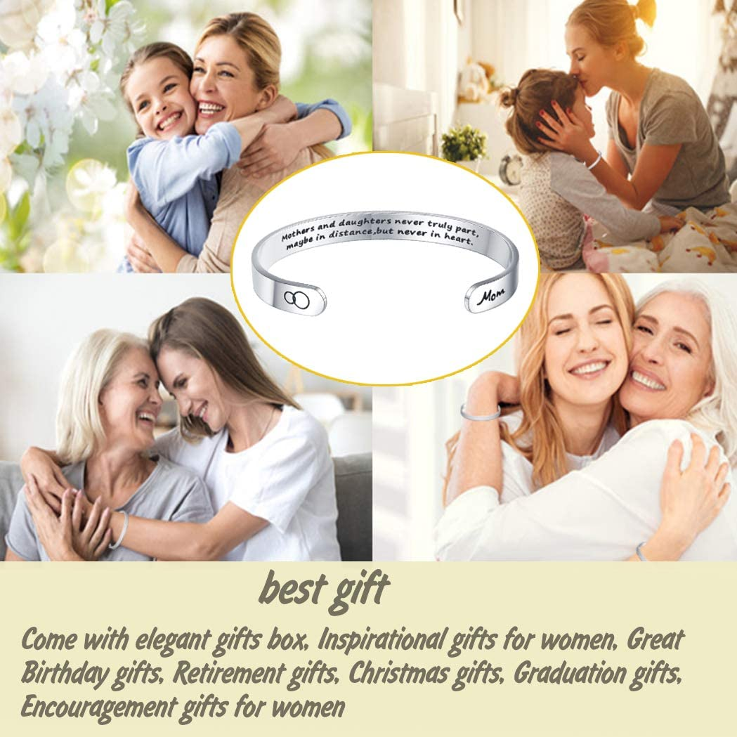 BFF/&UNICORN Inspirational Bracelets for Women Engraved Mantra Hidden Message Personalized Crown Cuff Bangle Birthday Jewelry Gift for Her
