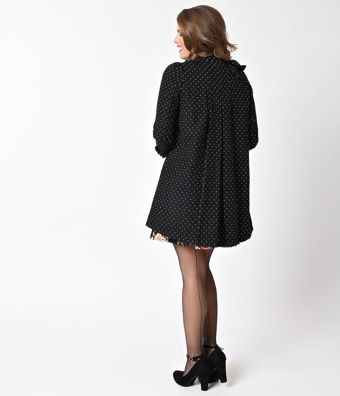 Vintage Style Black & Cream Dot Button Down Bow Dress Coat