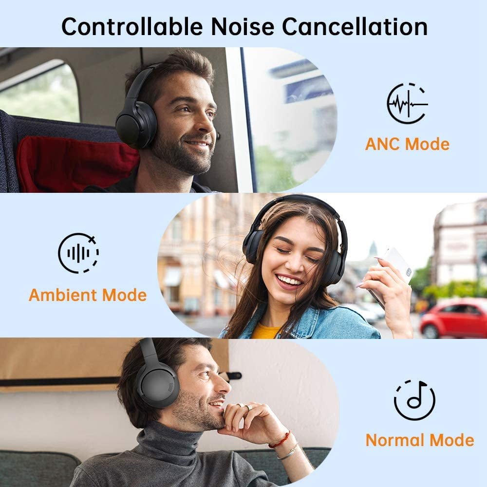 Tranya H10 Hybrid Digital Active Noise Cancelling Wireless Headphones, Bluetooth Over Ear Headphones with Deep Bass, aptX HD, Built-in Microphone, 24 Hours Playtime, Foldable Design for Travel