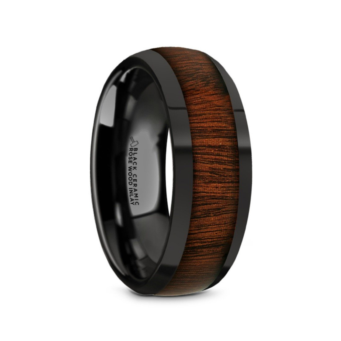 Thorsten Rosae Black Ceramic Domed Profile Polished Finish Men's Wedding Band with Genuine Fine Grain Rose Wood Inlay 8mm Custom Personalized Inside Engraved by Roy Rose Jewelry by Thorsten (Image #1)