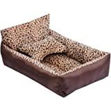 LvRao Casette, Letto Dell'animale Domestico Morbide Rettangolare Esterno Materassino Cane, Gatti Ceste Casa (Leopardo, 55*45*13CM)