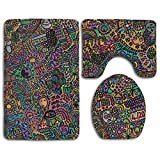 FZ-Kimrio Reddit Graffiti Bathroom Rug Mats Set 3 Piece Anti-Skid Pads Bath Mat + Contour + Toilet Lid Cover