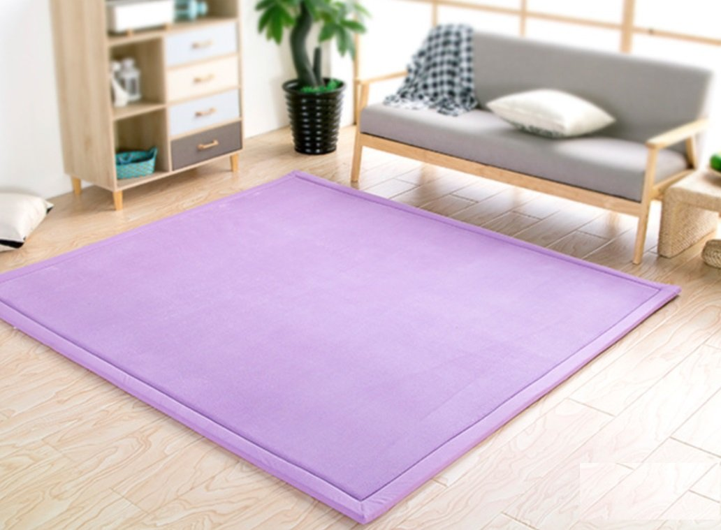 BEIRU Home Thickened Tatami Mat Coral Fleece Bed Bedroom Living Room Carpet Floating Window Mat Children Baby Crawling Mat ZXCV (Color : Purple, Size : 120.200cm)