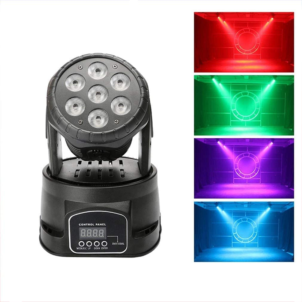 Urft Ledムービングヘッドパーティーライト、DMX512 RGBWミニRGBW LEDステージストロボライトビーム回転7色LEDポータブルディスコDJパーティークラブバーの結婚式のための照明
