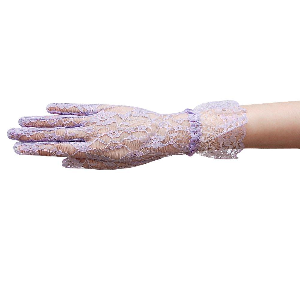 ZaZa Bridal Flower Pattern Women's Lace Gloves with Ruffle Wrist Length-Lilac