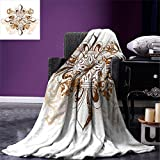 smallbeefly Fleur De Lis Digital Printing Blanket Ancient Antique Heraldry Symbol Vintage Floral Swirls Traditional Old Fashion Summer Quilt Comforter Brown White