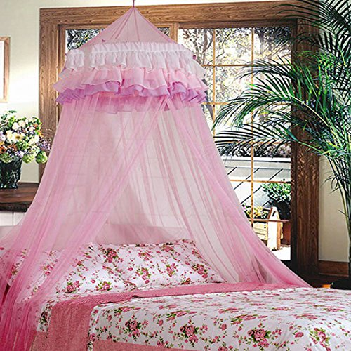 (Triple Lace Ruffle Princess Pink Canopy by Sid Trading)