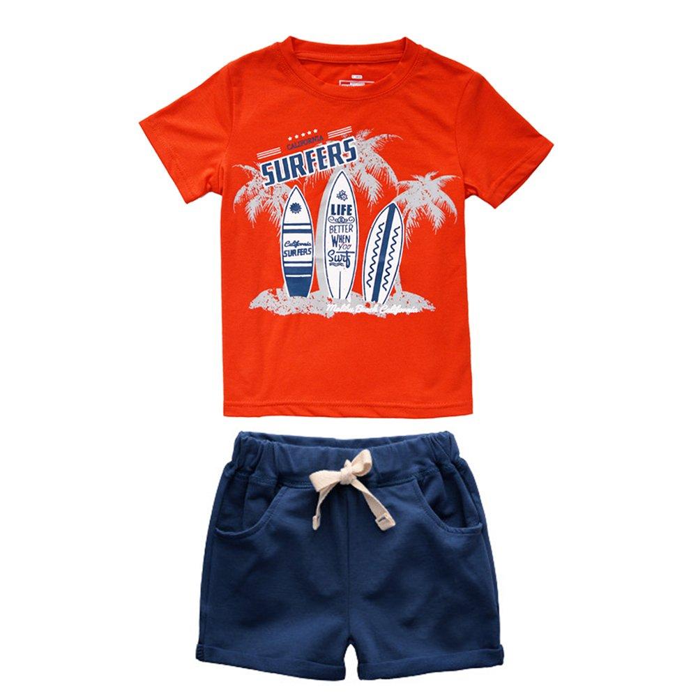 ACESTAR Toddler Boy Summer Cotton Clothes 2 Piece T-Shirt Top Pants(2-7Years)