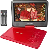 """DBPOWER 11.5"""" Portable DVD Player, 5-Hour Built-in Rechargeable Battery, 9"""" Swivel Screen, Support CD/DVD/SD Card/USB, with Remote control, 1.8M Car Charger and Power Adaptor (Red)"""