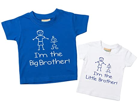 Set de camisetas azul y blanca con las frases Im The Big Brother y