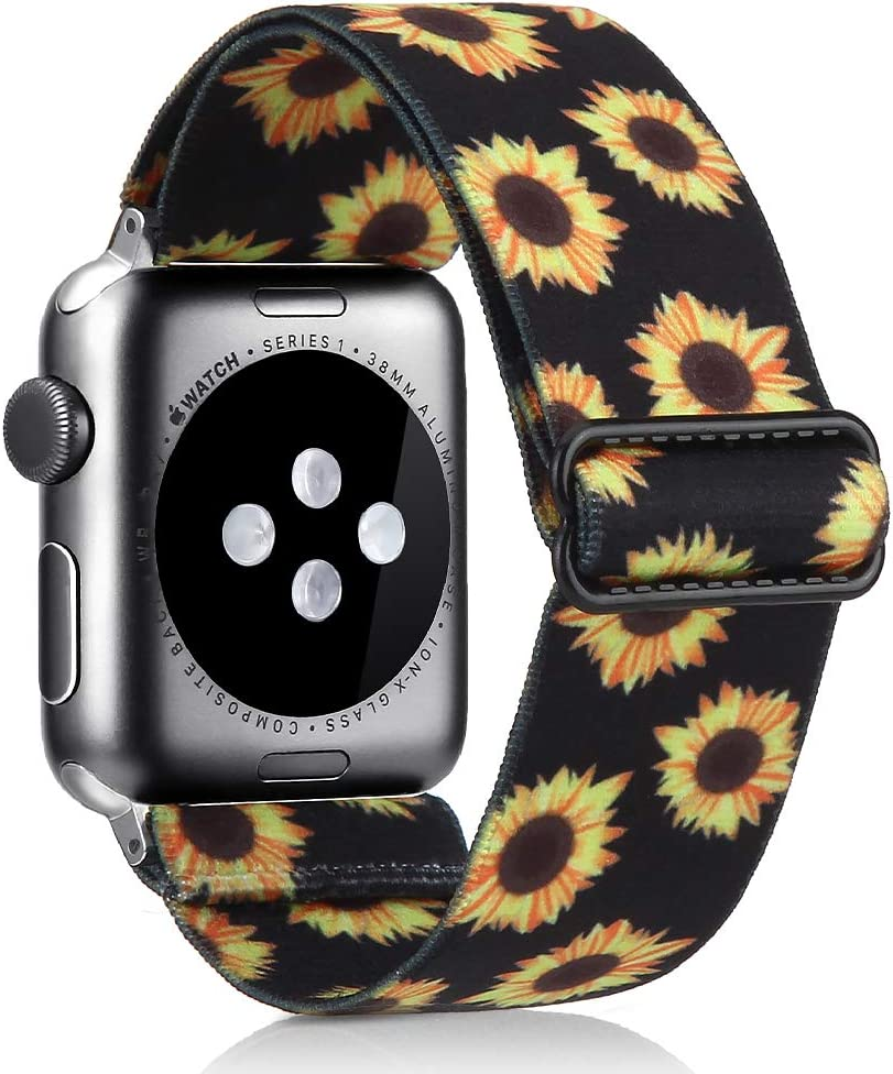 Elastic Watch Band Compatible With Apple Watch 38mm 40mm 42mm 44mm,Stretch Elastics Wristbelt Replacement Wristband For iWatch Series 5/4/3/2/1 (Sunflower, 42MM/44MM)