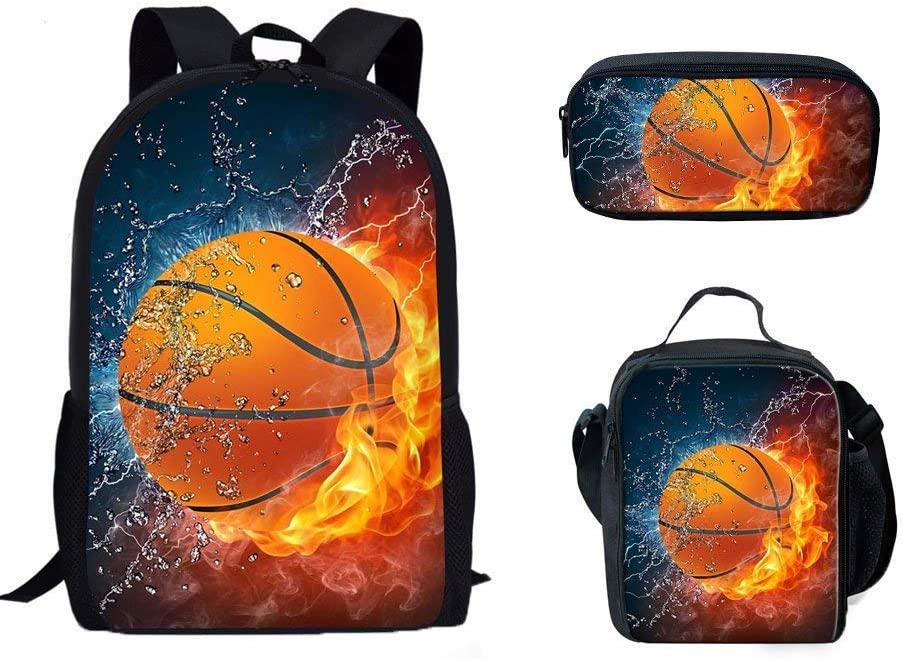 3 PCS School School Bag Set for School Students Girls Boys Cool 3D Fire Basketball Design Casual Dailypack Book