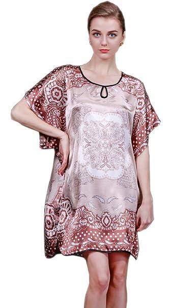 8ebf07cbc7 SexyTown Women s Soft Silk Robe Printed Sleepwear Dress Batwing Sleeve  Nightgown (Large