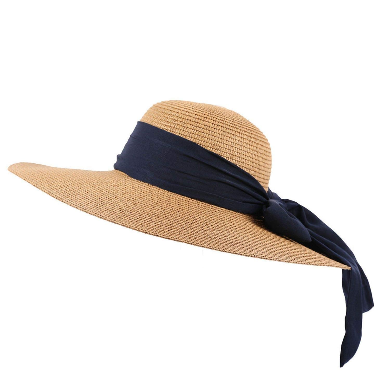 Weaving Straw Cap Floppy Foldable Solid Color Summer Beach Caps Visor Hats Ladies Wide Travel Sun Hat