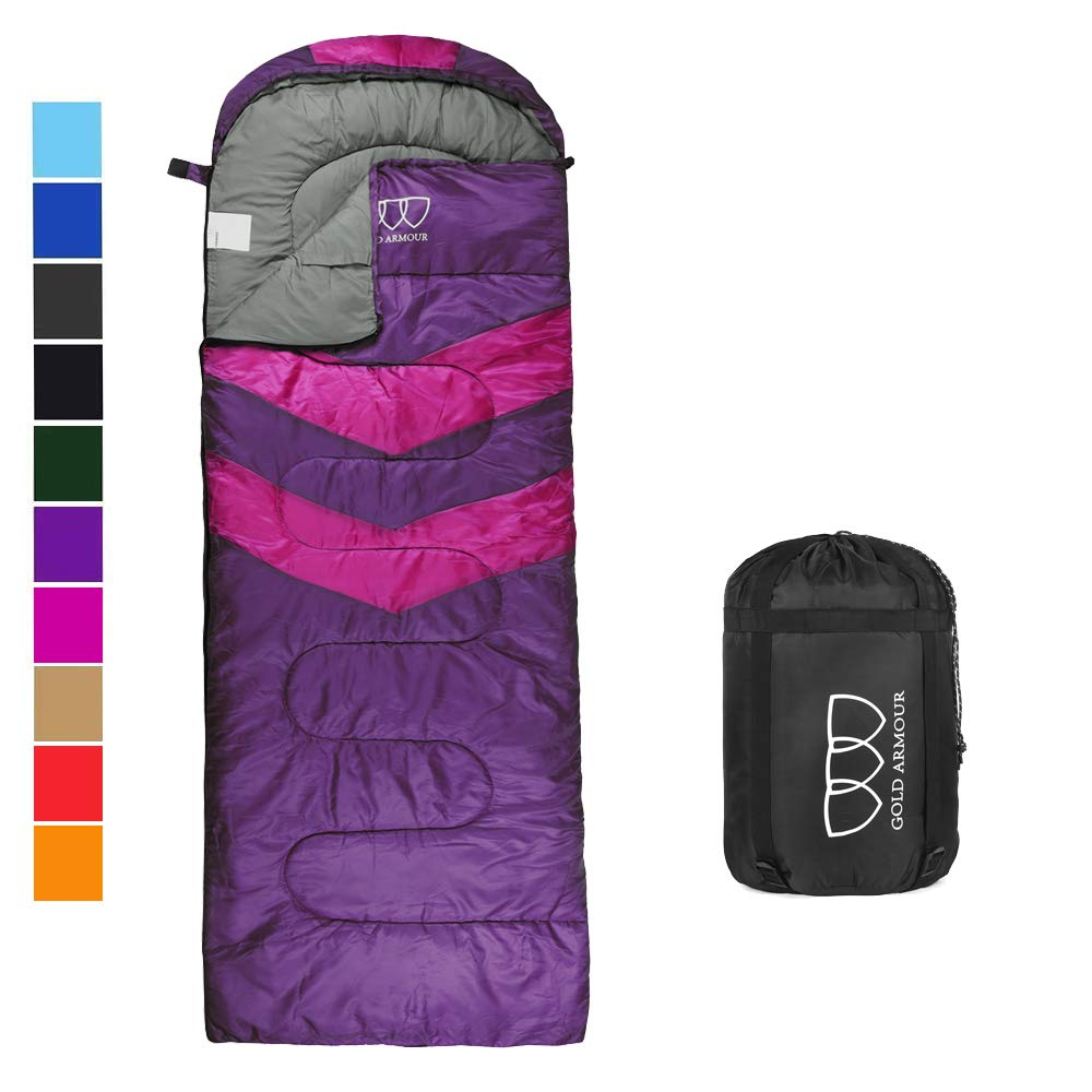 Sleeping Bag - Sleeping Bag for Indoor & Outdoor Use - Great for Kids, Boys, Girls, Teens & Adults. Ultralight and Compact Bags for Sleepover, Backpacking & Camping (Purple/Fuchsia Right Zipper) by Gold Armour
