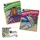 MindWare Color by Number Mystery Mosaics Set of 2 with Colored Pencils