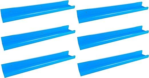 Harbour Housewares Estante de Pared para Libros - Ideal para dormitorios Infantiles y guarderías - Madera - Azul - 56 cm - Pack de 6: Amazon.es: Hogar