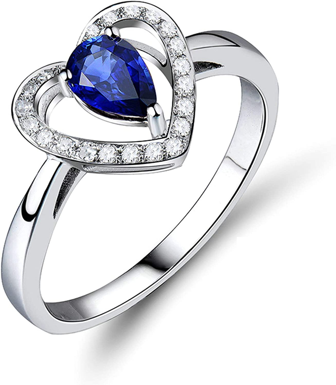 Aartoil Alianzas de boda de oro blanco de 18 quilates para mujer, corazón con anillo de tanzanita de 0,55 quilates (tanzanita: 0,55 ct/1 unidad)