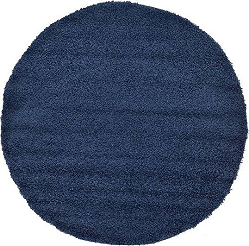 Blue 6' Round Area Rug (Unique Loom Solid Shag Collection Navy Blue 6 ft Round Area Rug (6' x 6'))