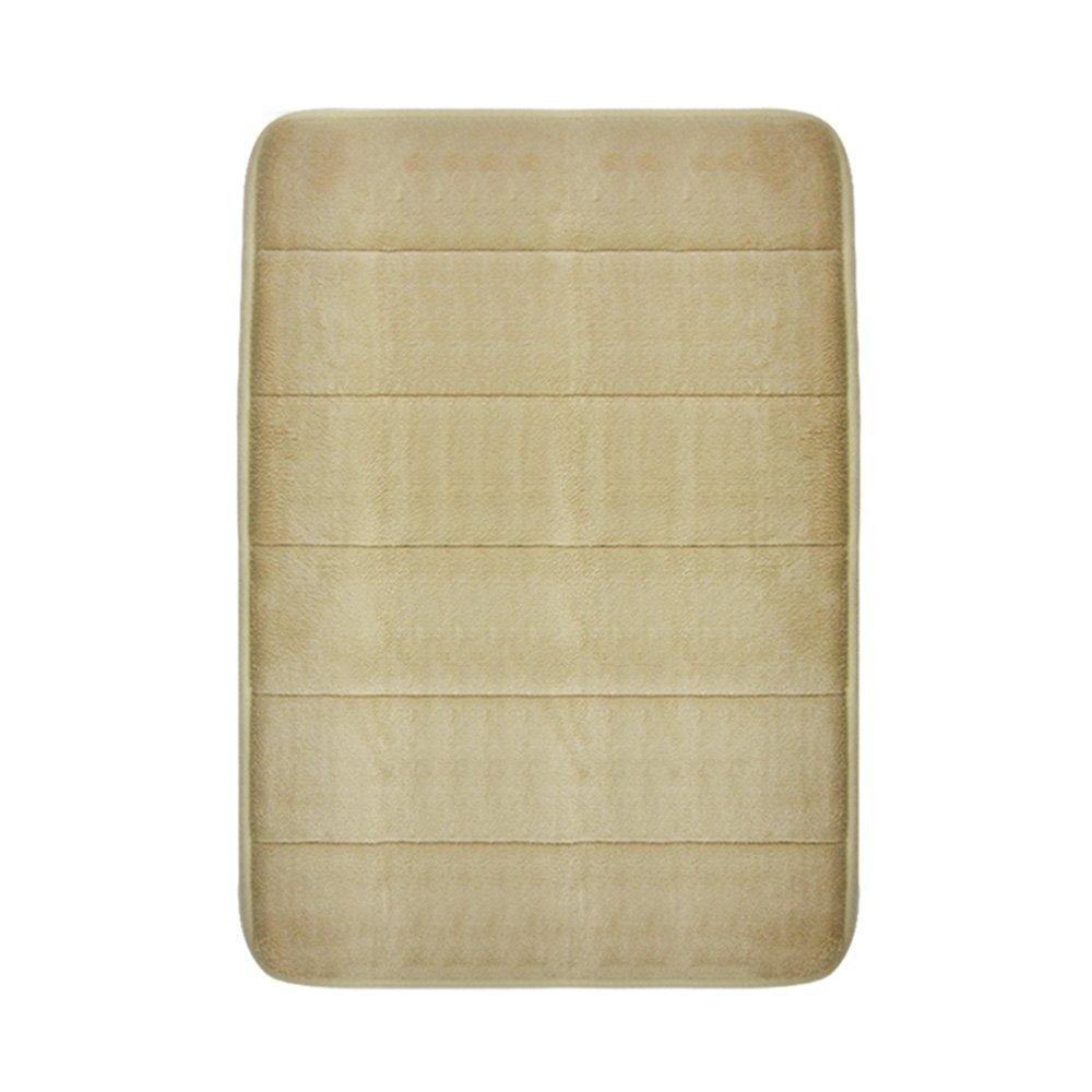 VANRA Bath Mat Bath Rugs Anti-slip Bath Mats Anti-bacterial Non-slip Bathroom Mat Soft Bathmat Bathroom Carpet for Baby Kids Safety with Memory Foam Coral Velvet Fabric 19.7'' X 31.5'' (Khaki)